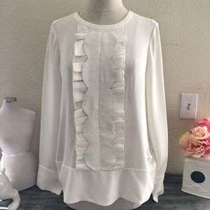 Kate Spade Off White Pleated Long Sleeve Sz 4